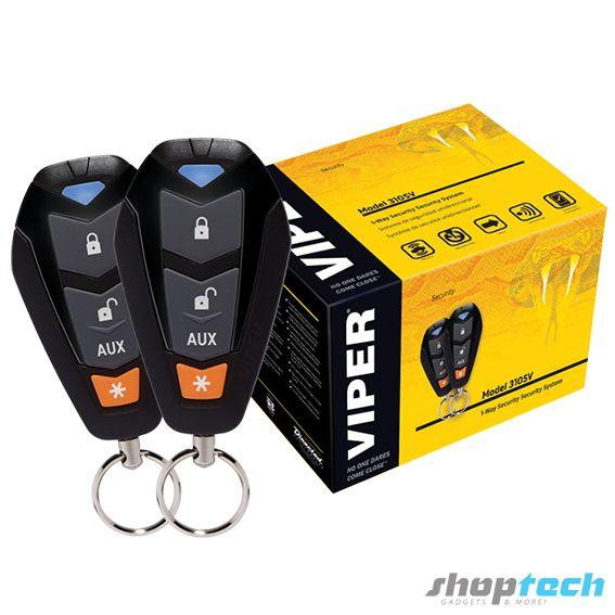 Kit de seguridad que incluye controles remoto, alarma y sensor de golpes. Sistema de seguridad unidireccional.