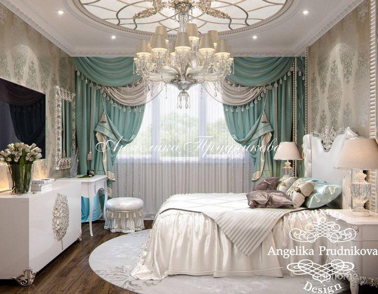 Дизайн квартиры в классическом стиле с белой мебелью на Профсоюзной. Спальня
