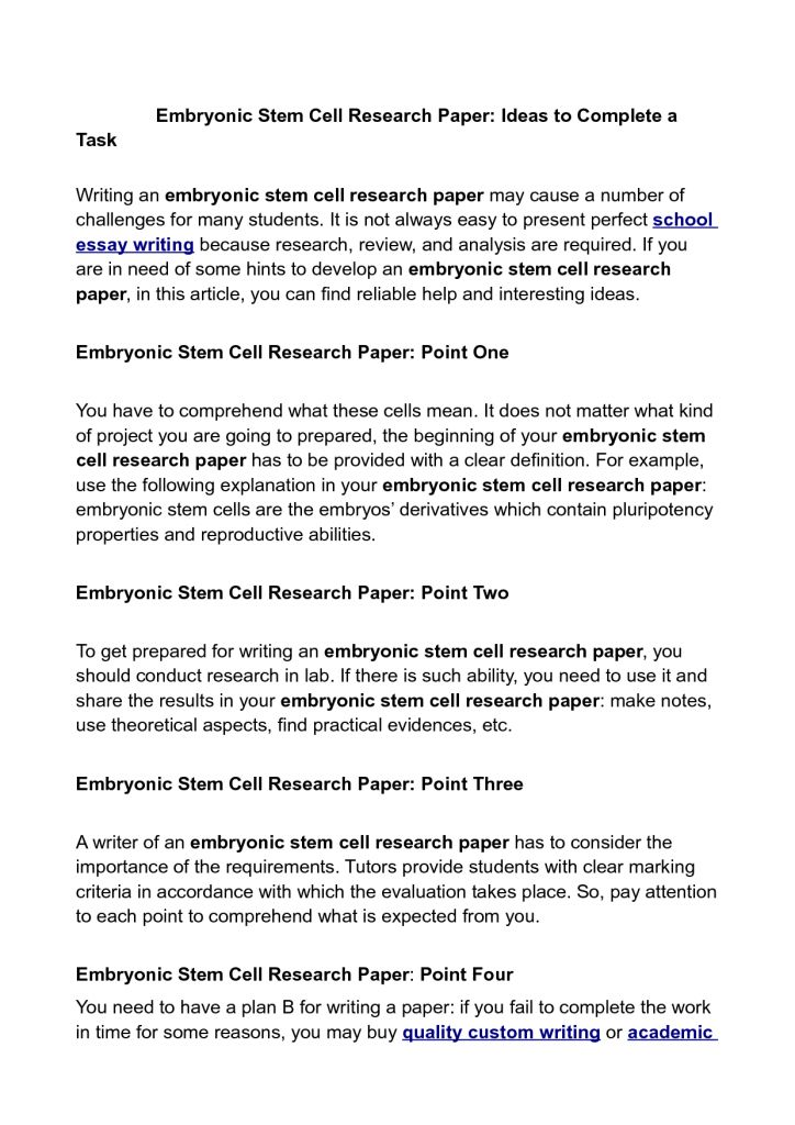 Stem Cell Essay Sample Essay On Stem Cell Research A Historical And