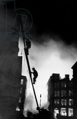 Firemen at work during the Blitz on London (b/w photo)