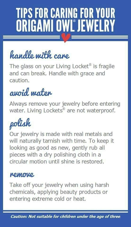 Like any piece of jewlery you buy, there is some TLC involved :) How to care for Origami Owl jewelry