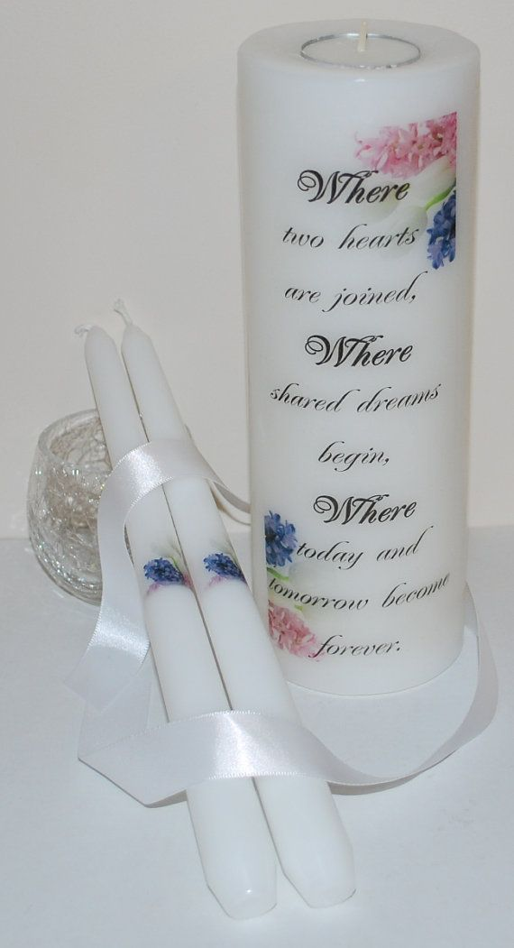 WEDDING UNITY CANDLE  Pretty Tulips and by DesignsbyDMShop on Etsy, $35.00