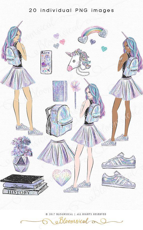 Hologlam School Clip art Hand drawn Unicorn Girl Student Books