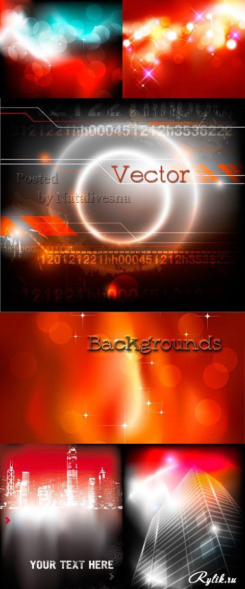 Город и абстрактные красно-черные фоны в векторе с бликами
