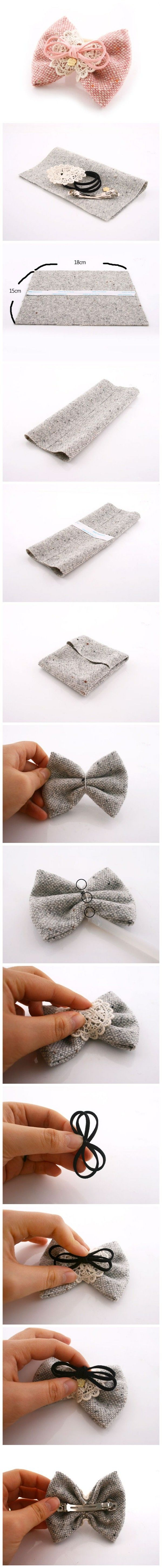 Hecho a mano Coreano::Hand crafted in Korea. Lovely little burlap bow with embellishments.