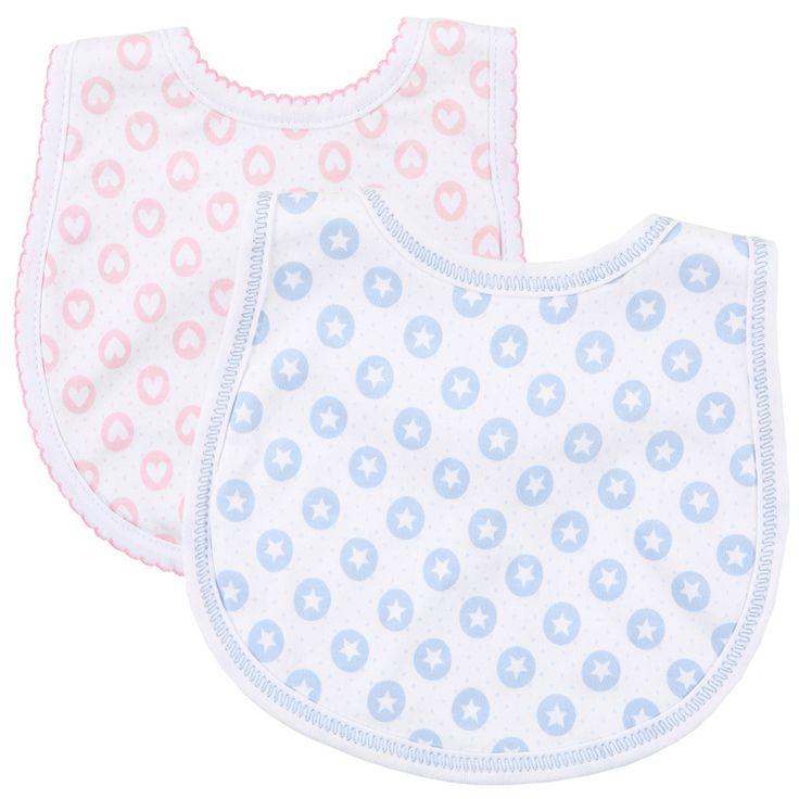 Boy/Girl Twin Set of 2 Bibs - Magnolia Baby Hearts & Stars