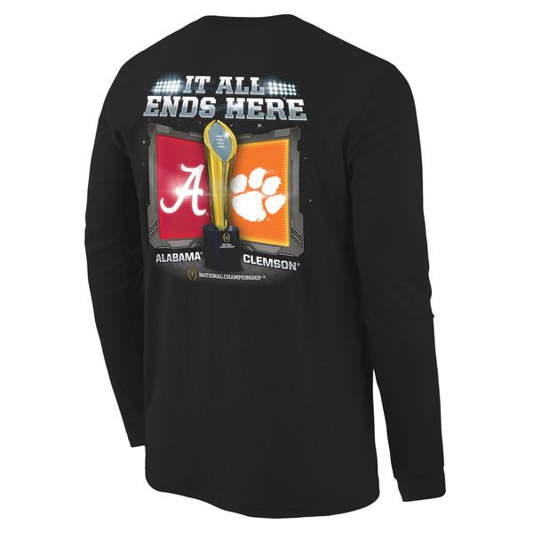 Alabama Crimson Tide vs. Clemson Tigers 2016 College Football Playoff National Championship Game Dueling Under the Lights Long Sleeve T-Shirt - Black - $24.99