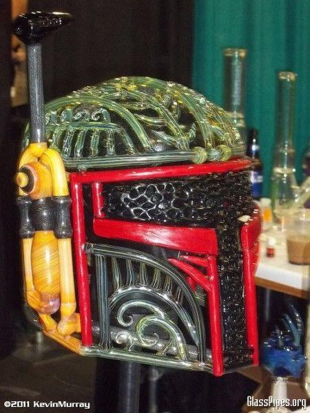 Boba Fett helmet made of blown glass.