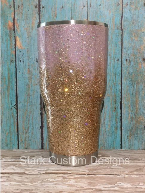 Pink and Champagne Gold Ombre Glitter Tumbler - Yeti, Rtic, or Ozark - 30 oz. or 20 oz. by StarkCustomDesigns on Etsy