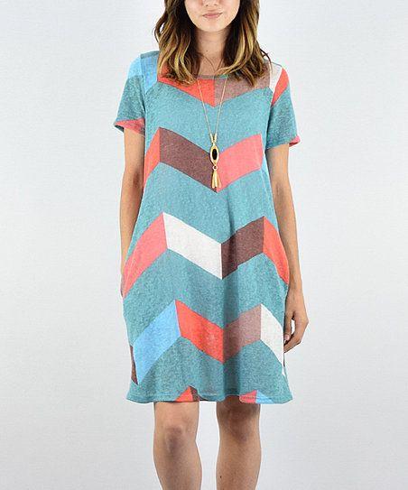 éloges Mint Chevron Pocket Midi Dress   zulily