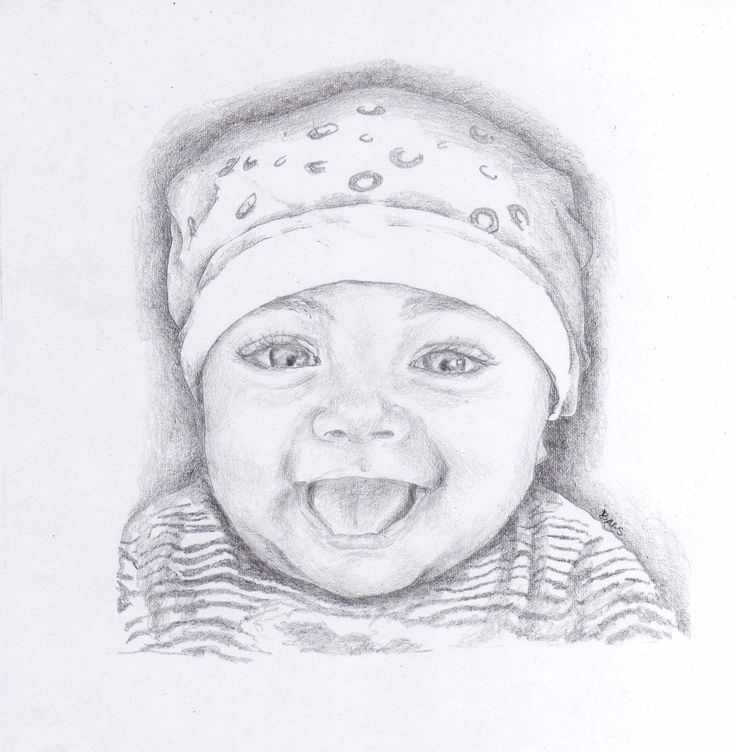 Girl baby, pencil on simple paper