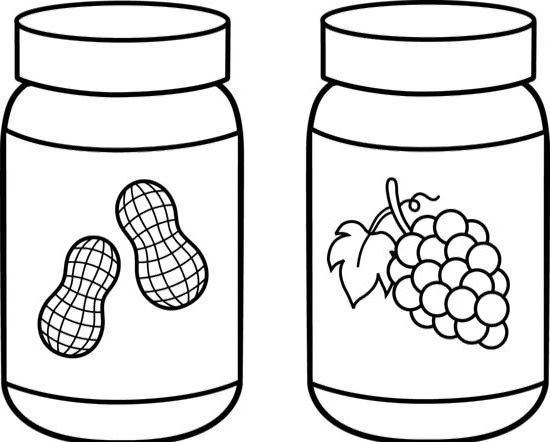 cartoon food coloring pages - grape jelly with peanut butter coloring picture food