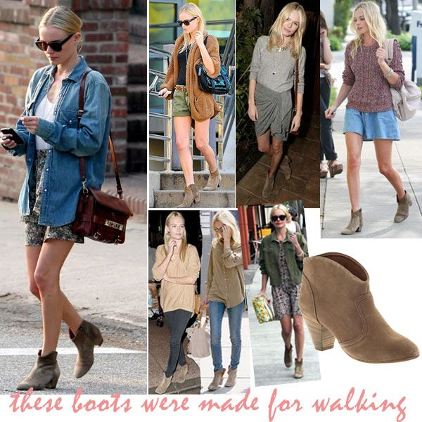 isabel marant dicker boots on kate bosworth; look for less; celebrity style look for less