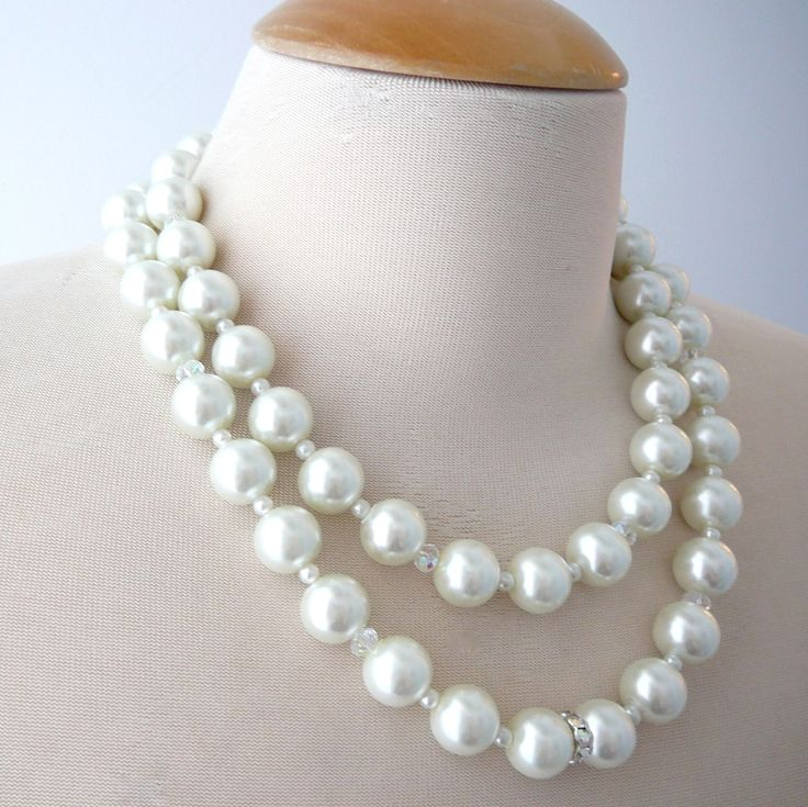 Pearl Necklace double strand in Princess length classic pearl bridal  by cheriebeadle on Etsy https://www.etsy.com/listing/68493817/pearl-necklace-double-strand-in-princess