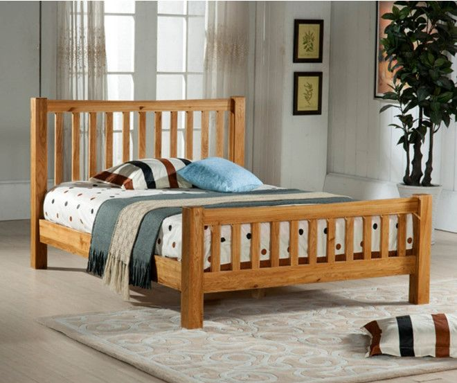 The Denver solid #oak bed frame from Time Living, the #Denver is an elegantly designed high foot board bed and is crafted using the finest quality American white oak. The solid frame is highlighted within the strong headboard and footboard design featuring Chunky wooden posts which are softened by the ladder slat design in order to add a touch of style to the bed.  #HomeFurniture #Oakbed #Furniture