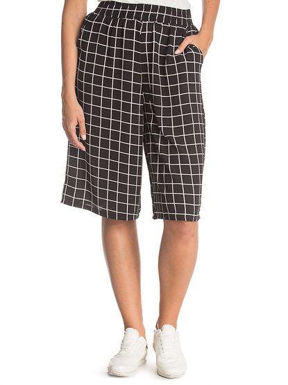 Dámske nohavice 3/4 dĺžky s gumičkou v páse Panacher Paris - karované
