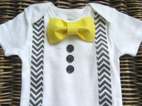 Baby Boy Clothes - Bow Tie Onesie - Boys First Birthday Outfit - Baby Tuxedo Onesie - Tuxedo With Grey Chevron Suspenders And Yellow Bow Tie on Etsy, $22.28 CAD