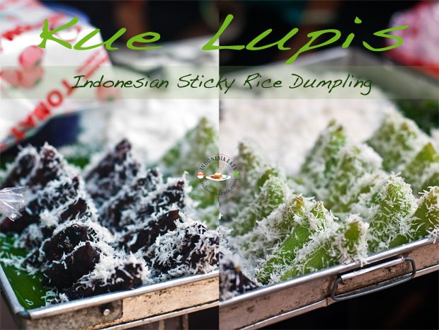 Kue Lupis (Sticky Rice Cake). Common to be sold at traditional markets in Indonesia. Click on picture for more story.
