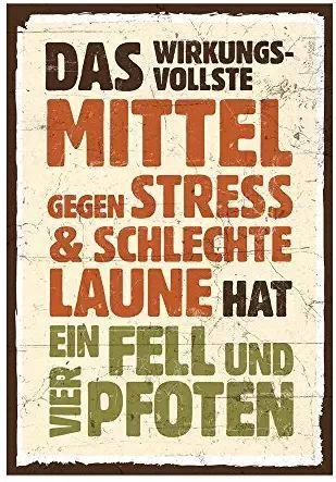 Holzschild mit Spruch – FELL UND VIER PFOTEN – shabby chic retro vintage nostalg
