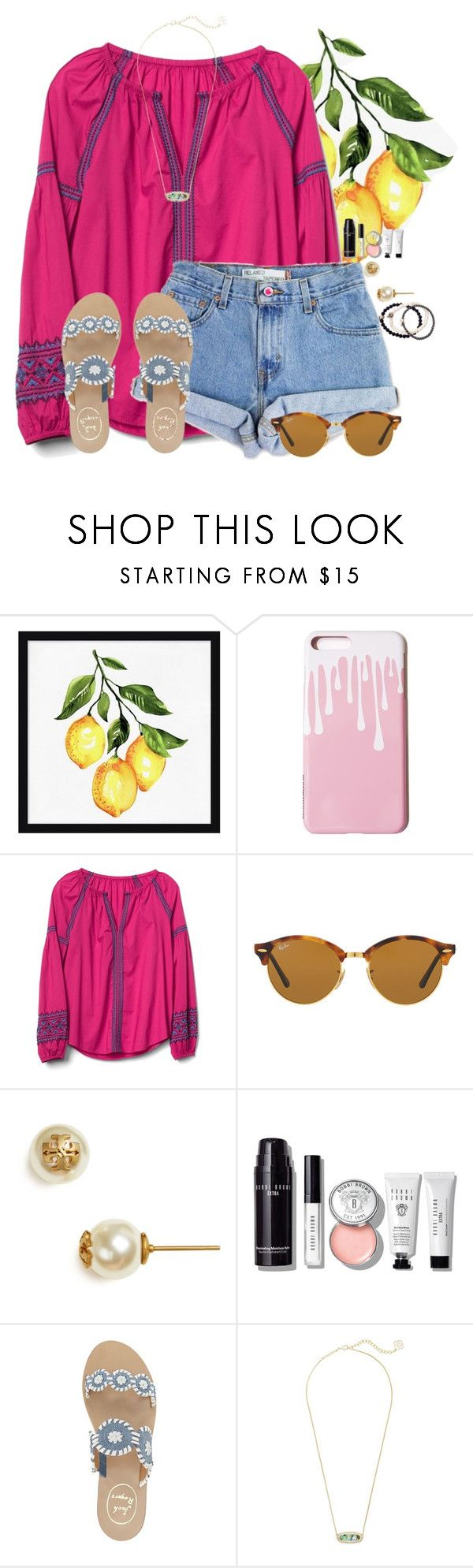 """""""~find me under the palms~"""" by flroasburn on Polyvore featuring Pottery Barn, Gap, Levi's, Ray-Ban, Tory Burch, Bobbi Brown Cosmetics, Jack Rogers, Kendra Scott and Duchess of Malfi"""