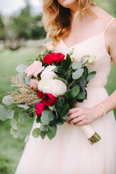 Gorgeous bold bouquet: http://www.stylemepretty.com/2014/11/26/glamorous-diy-wedding-at-the-dayton-ohio-art-institute/ | Photography: Jenny Haas - http://www.jennyhaas.com/