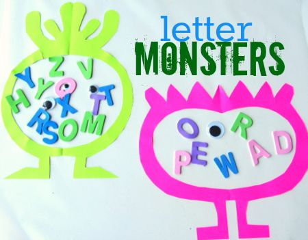 letter monster craft for kids- Kids love craft with contact paper right now. This will be perfect!