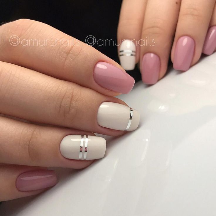 Wedding nail art in pink and cream