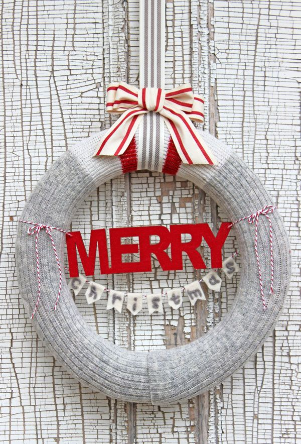 Merry Christmas Wool Sock Wreath from fynesdesigns.com