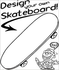 Printable Design Your Own Skateboard Coloring Page