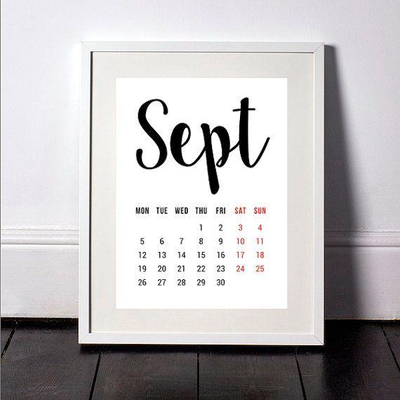 September 2016 Calendar, Printable Calendar, Monthly Planner, Calendar 2016, Monthly Calendar, Wall Print, Downloadable Calendar, 12 Prints