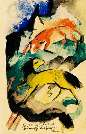 Franz Marc - Lemon horse and fire ox of the prince Jussuff (on postcard to Else Lasker pupils)