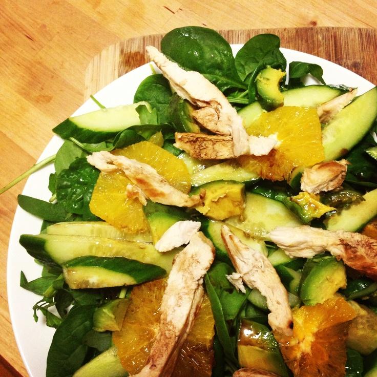 Lunch for Dinner! @Michelle Bridges Chicken, Avocado & Orange Rocket Salad #happy