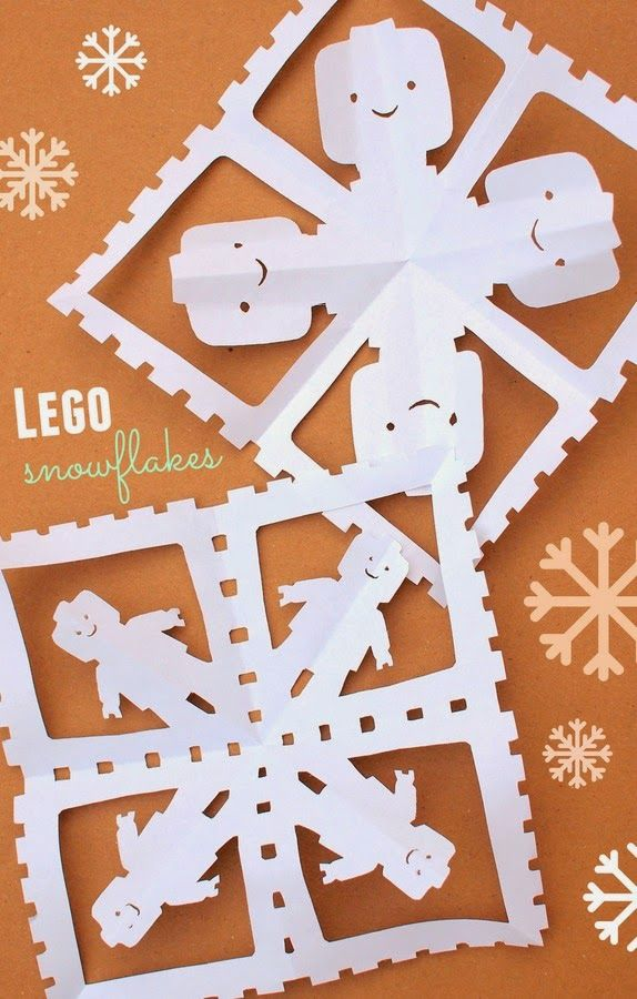 Fun winter paper craft - how to cut lego snowflakes!