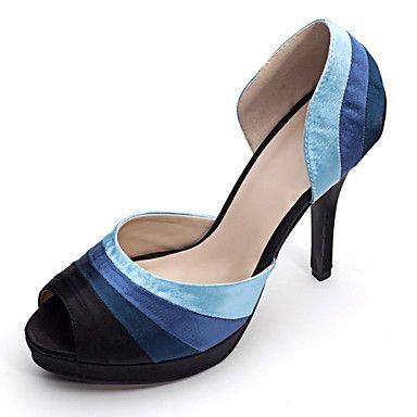 Bom gosto Cetim Peep Toe bombas estilete do salto com sapatos de casamento Ruffle - BRL R$ 151,96