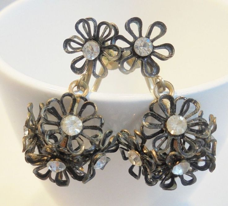 Vintage Black Enamel Flower Earrings Floral Art Nouveau Screwback Rhinestones!!! #Unbranded #DropDangle