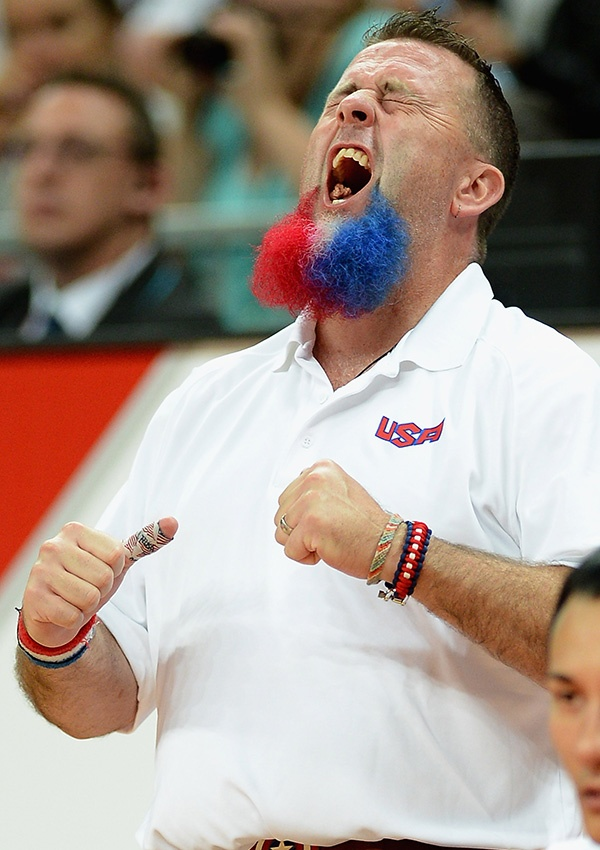 Assistant Coach Robert Murray of the USA celebrates a point during the Wheelchair Rugby Pool Phase Group A match between Japan and USA on day 8 of the London 2012 Paralympic Games at Basketball Arena on September 6, 2012 in London, England. (Photo by Christopher Lee/Getty Images)