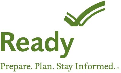 Ready Logo - Prepare. Plan. Stay Informed. For emergency preparedness. Tornadoes, earthquakes, fires, etc.