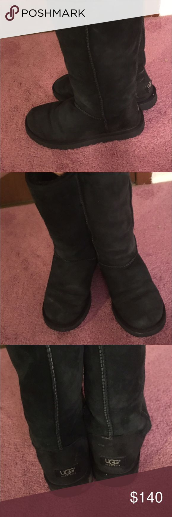 Women's Ugg boots Black authentic Tall UGG boots from UGG Australia. Gently used, in great condition. Incredibly soft and comfortable with great support for your feet. Perfect for Fall and Winter! UGG Shoes Winter & Rain Boots