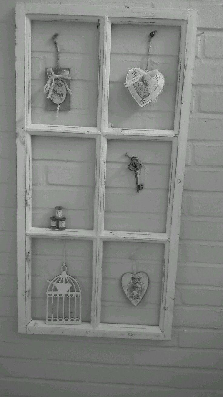 Fenster Deko Fensterrahmen Sprossenfenster Brocante Weiß