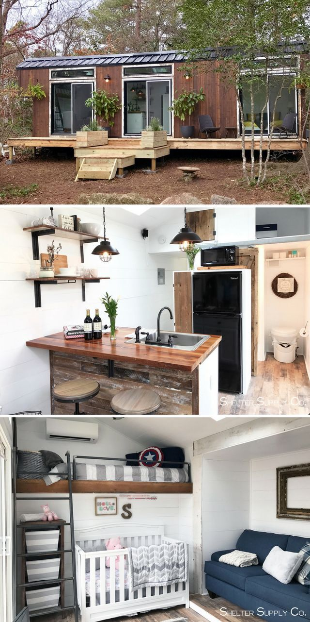 A contemporary tiny home, designed and built for a family with two young children!