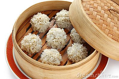 Rice Meatballs In The Bamboo Steamer , Chinese Fo Stock ...