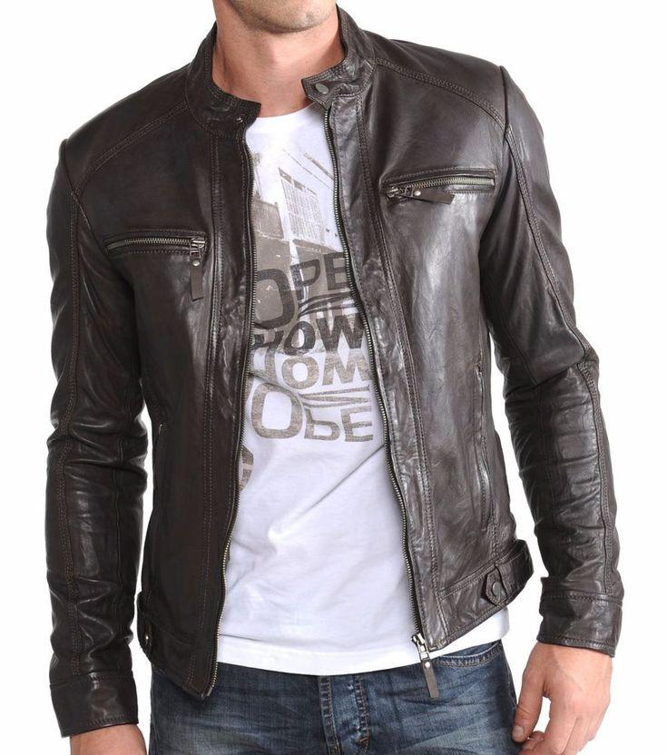 New Men's Genuine Lambskin Leather Jacket Brown Slim fit Biker Basic Jacket MJ07 #DivineLeathers #BasicJacket
