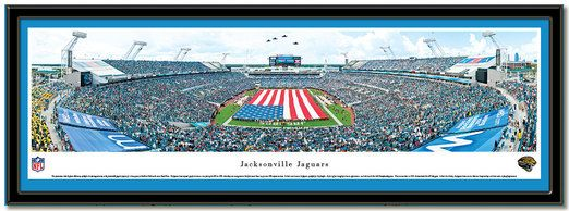 The Jacksonville Jaguars playing at EverBank Field opening ceremonies with the magnificent American flag covering the field., MyTeamPrints.com -Framed Sports Prints