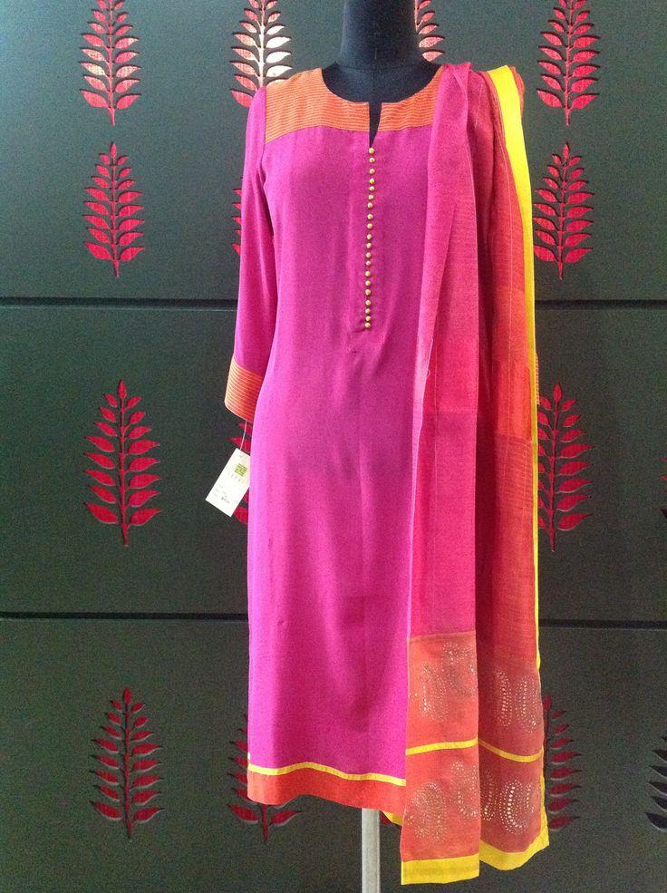 Semi formal crepe color block suit with chanderi dupatta