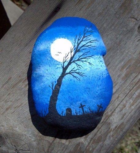 Original Hand Painted Spooky Cemetery Full Moon River Rock OOAK Halloween | eBay (cool!)