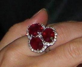Ruby and diamond ring worn by Princess Mary of Denmark. It had been a brooch belonging to Queen Alexandrine (grandmother of the current Queen).