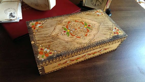 Vintage Handpainted Solid Wooden Memory Box Jewelry Box