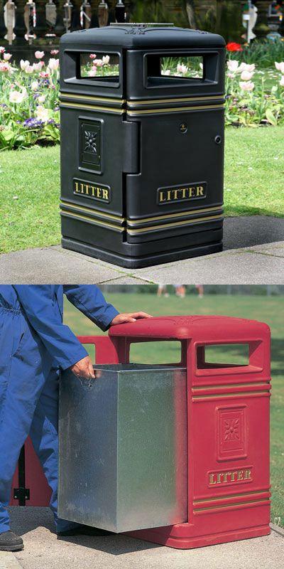 Brunel™ litter bin is supplied complete with an elegant moulded-in crest detail on all sides except the door. #GlasdonUK #ExternalLitter #Bins