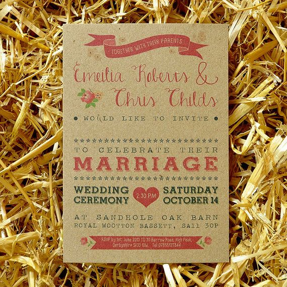 Vintage Country Wedding Invitation & Save the Date - On Brown Kraft Recycled Card