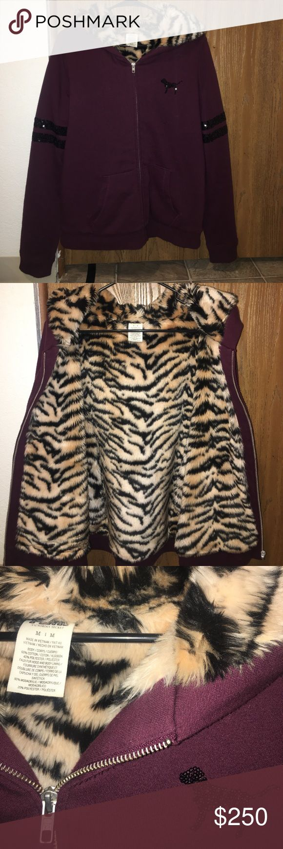 Victoria's Secret pink tiger fur hoodie repost I'm debating on selling this.... like new, worn up to 2-3 times max!! This is limited edition and goes for a lot. Just seeing if anyone would be interested. I'd maybe trade but it would have to be for a few items. This is the price as of now. This sells for A LOT! Trading price is $200+- depending. PINK Victoria's Secret Sweaters